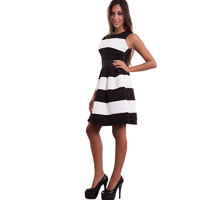 db01732bf66f Toocool Vestito donna miniabito righe gonna ruota pinup sexy anni 50 corto  nuovo CJ-1702  L