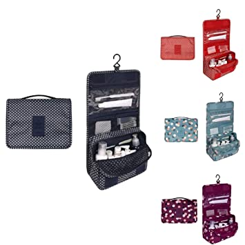 Amazon.com  Cosmetic Bag Portable Makeup Pouch Waterproof for Travel  Hanging Organizer Bag 7f9461d1df111
