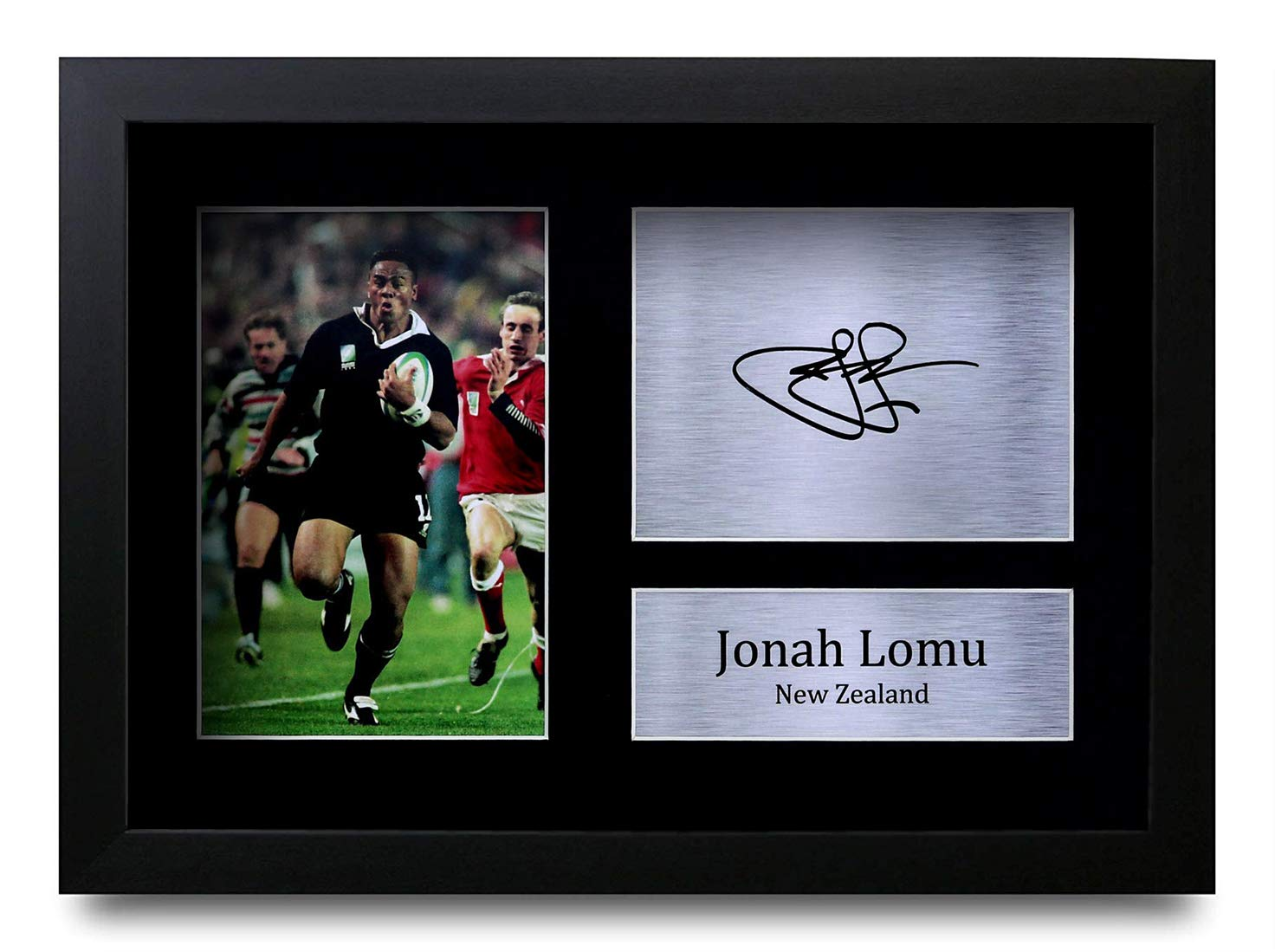 A4 Framed HWC Trading FR Jonah Lomu New Zealand Gifts Printed Signed Autograph Picture for Rugby Union Fans