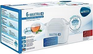 BRITA MAXTRA+ – Pack6filtros para el agua, Cartuchos filtrantes compatibles con jarras BRITA que reducen la cal y el cloro