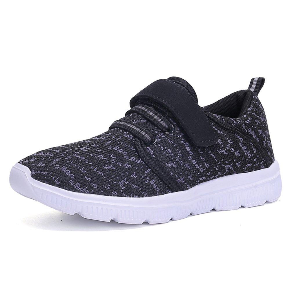 Ukris Kids Lightweight Breathable Sneakers Easy Walk Casual Sport Shoes for Boys Girls(EU 32,BlackGrey)