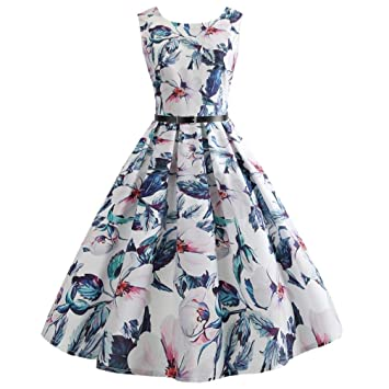 Women Dress Clearance!Rakkiss Vintage Printing Prom Swing Bodycon Sleeveless Casual Evening Party