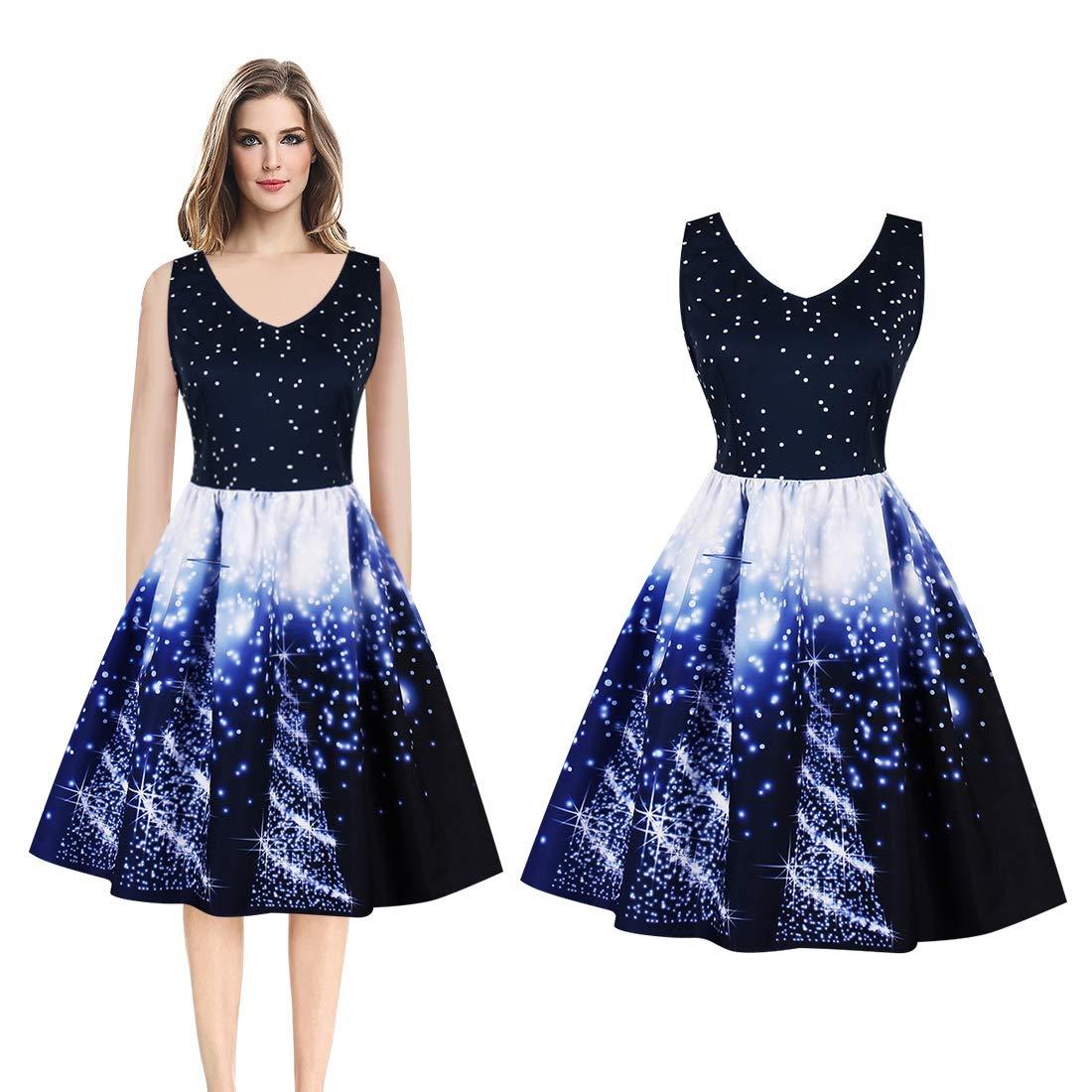 20ba65130f1b Vintage Dress, Elegant Starry Sky Printing Women V-Neck Sleeveless Empire  Waist Pleated Dress at Amazon Women's Clothing store: