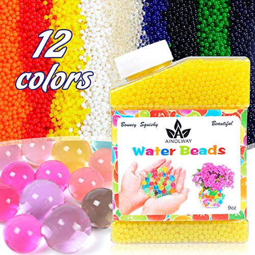(AINOLWAY High Elastic Water Beads Gel Pearls Jelly Crystal Soil for Vase Fillers 4oz Almost 15,000 Pcs (Yellow))