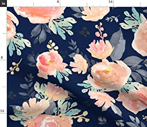 Spoonflower Fabric - Coral Gray Mint Florals Navy Pink Floral Flowers Boho Baby Printed on Petal Signature Cotton Fabric by The Yard - Sewing Quilting Apparel Crafts Decor