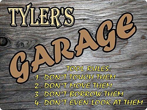 "TYLER Garage tool rules wood effect design décor sign 9""x12"" Plastic ."