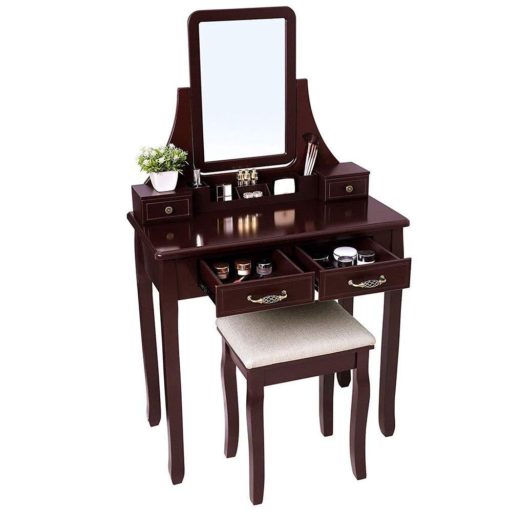 Lineary-Home Make-up-Tabelle Tabelle Mädchen Make Up 360 drehen Spiegel Holz Make-up Schminktisch und Hocker Set Schminktisch Set mit Organizer (Farbe : Braun, Größe : 80 * 40 * 135cm)