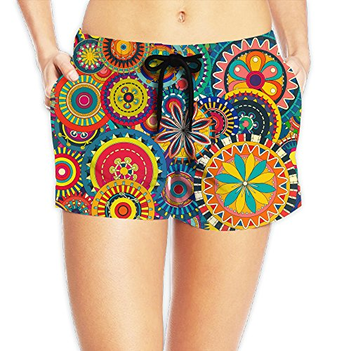 Cool Bohemian Floral Printed Rash Guard Shorts Stretch Tie Waist Dri-power Midi 100 Meter Dash Knit Shorts With Pockets For Women