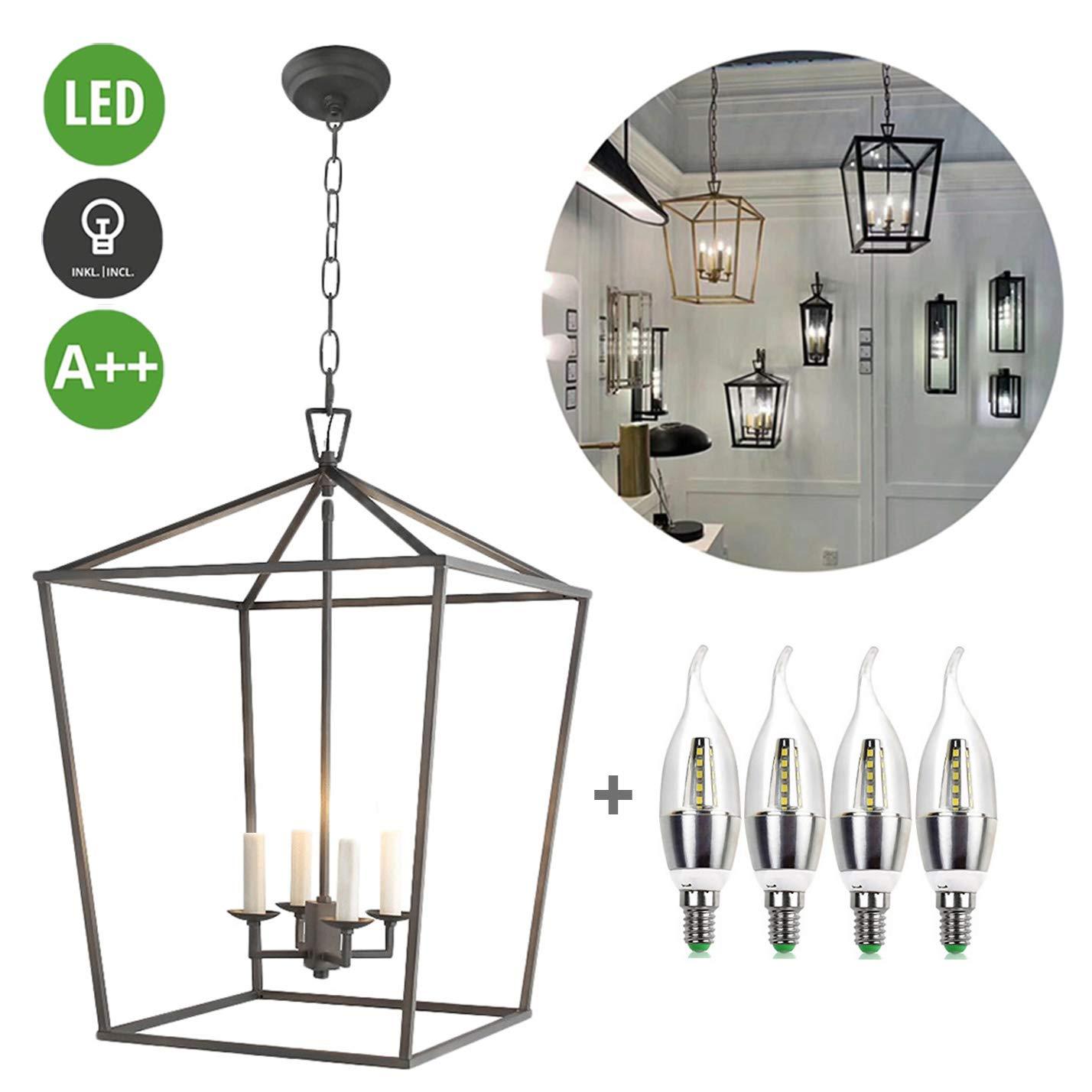 Bulbs not Included max 40W E27 Socket Restaurant Vintage Ceiling Light for Dining Room Total Height 1.1m B.K.Licht 3-Light Industrial Pendant Lamp Black Metal Retro Chandelier IP20 Kitchen
