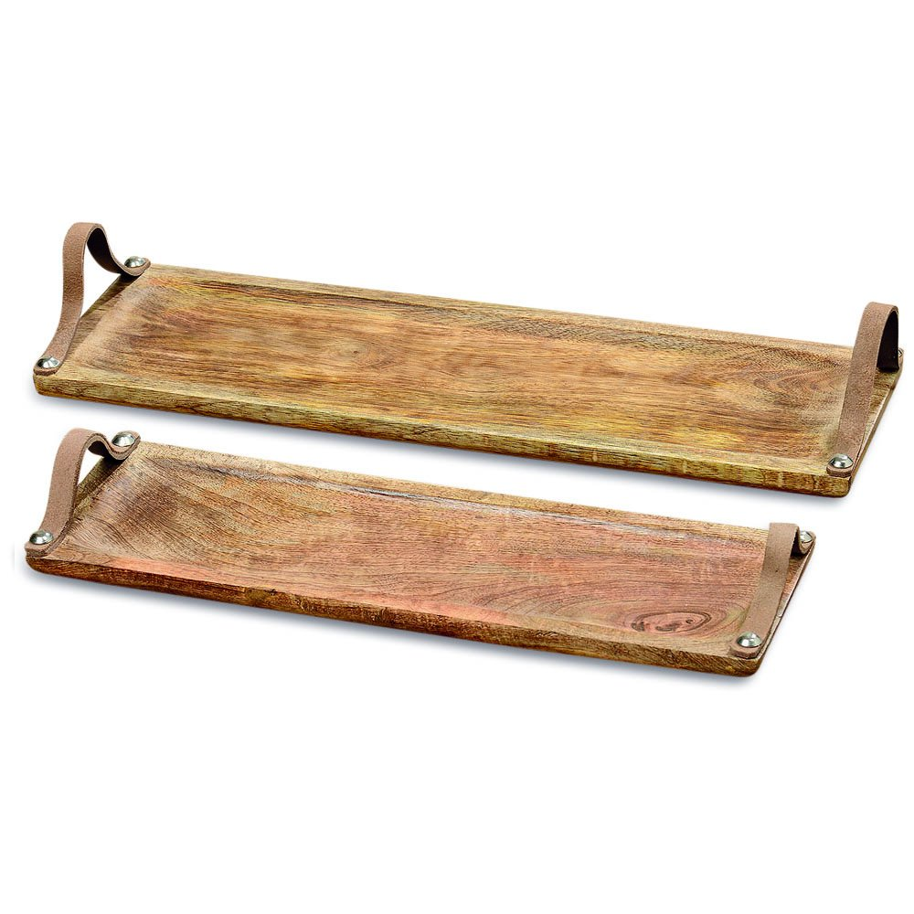 WHW Whole House Worlds Farmer's Market Serving Board Trays, Brown Leather Handles, Food Safe, Rectangle Shape, Sustainable Mango Wood, Metal, Rustic Design,18 and 15 Inches Long by WHW Whole House Worlds