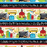 1 Yard - ''School Days'' ABCs Repeating Cotton Fabric - by Jo Moulton (Great for Quilting, Sewing, Craft Projects, Throw Pillows & More) 1 Yard x 44''