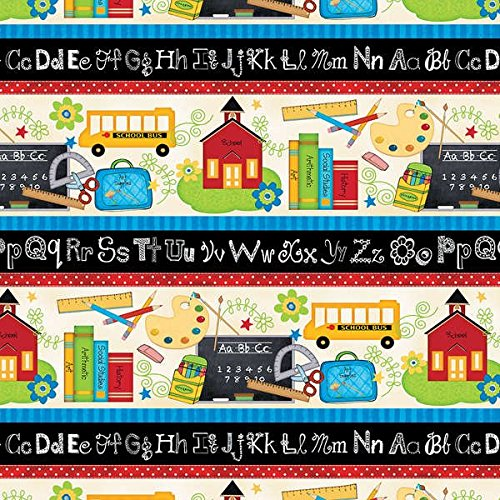 1 Yard - ''School Days'' ABCs Repeating Cotton Fabric - by Jo Moulton (Great for Quilting, Sewing, Craft Projects, Throw Pillows & More) 1 Yard x 44'' by School Days Fabric