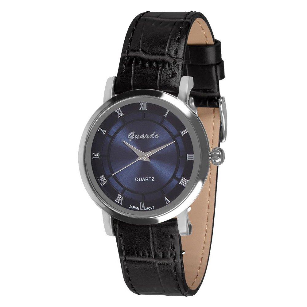 Guardo Women's Blue Dial Black Band Fashion Watch (WGW0041BBL)
