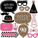 Chic 90th Birthday - Pink, Black and Gold - Birthday Party Photo Booth Props Kit - 20 Count