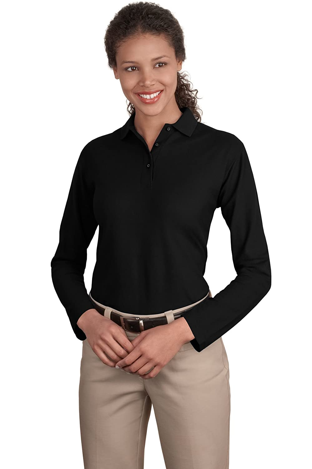 Port Authority Women's Long Sleeve Silk Touch Polo at Amazon ...
