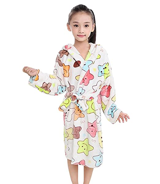 Tortor 1Bacha Kid Boys Colorful Star Print Hooded Plush Fleece Robe Long Bathrobe