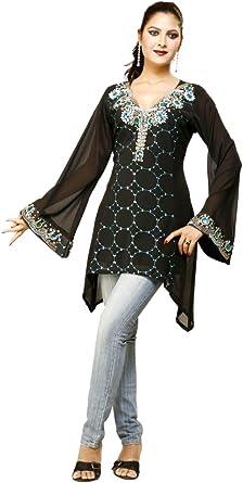 Jayayamala Black Cotton Tunic Blouse Women Casual Wear Top