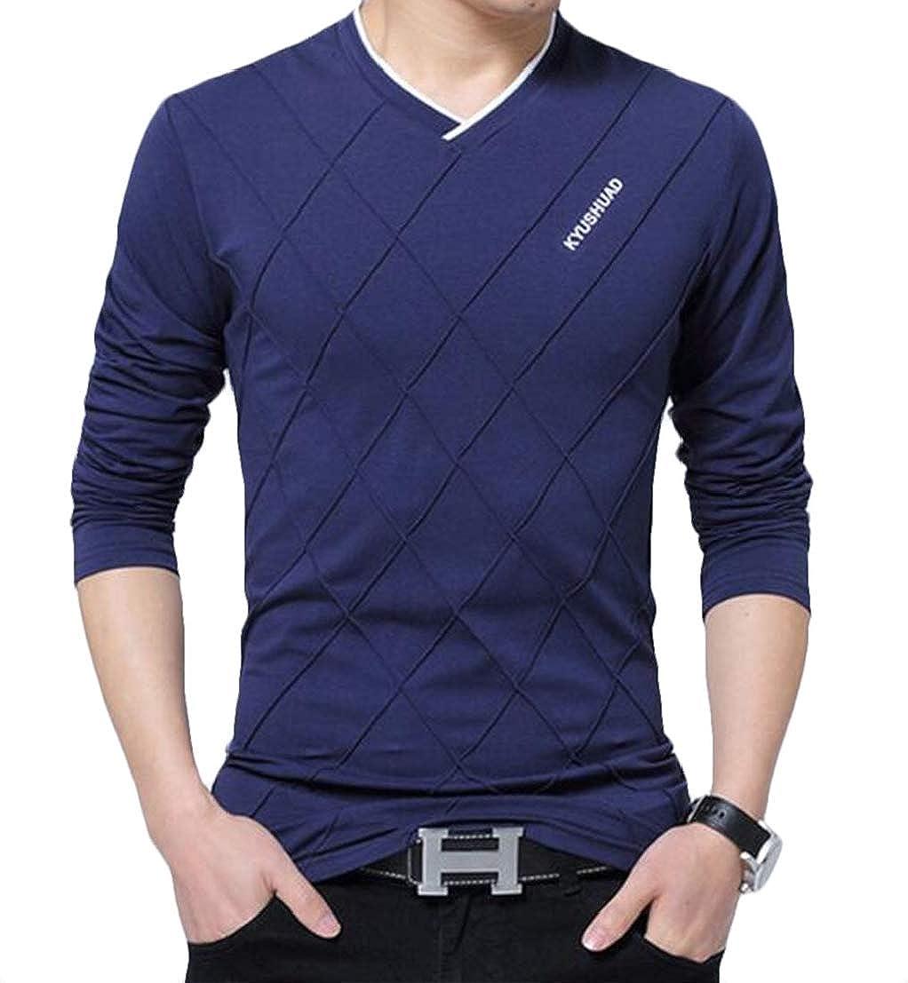 UUYUK Men V Neck Large Size Long Sleeve Pullover Casual T-Shirts