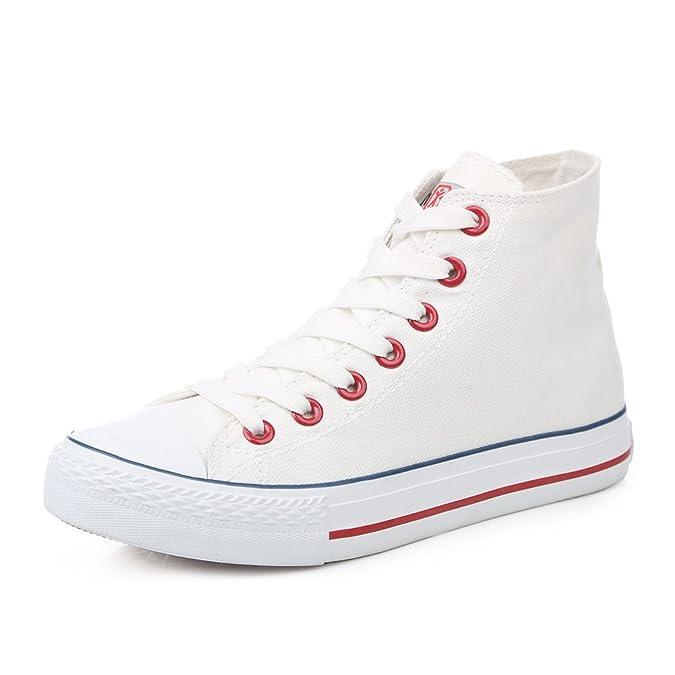 Zapatos blancos de fondo plano/Parejas de clásico estudiantes alta zapatos/Encaje de zapatos casual-C Longitud del pie=24.8CM(9.8Inch) phFsi7