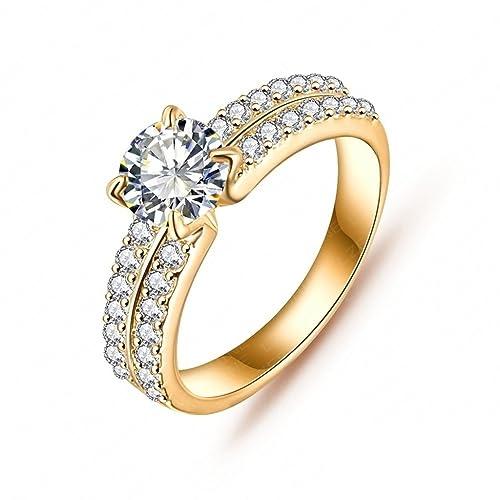 Daesar Joyería Anillo Compromiso de Oro Mujer, Brillantes Rialto con Diamantes Imitación Pavé Anillo de