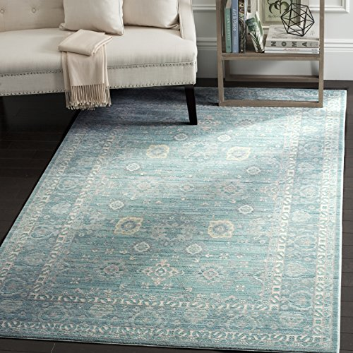 Safavieh Valencia Collection VAL110B Alpine and Multi Vintage Distressed Silky Polyester Area Rug (4' x 6')