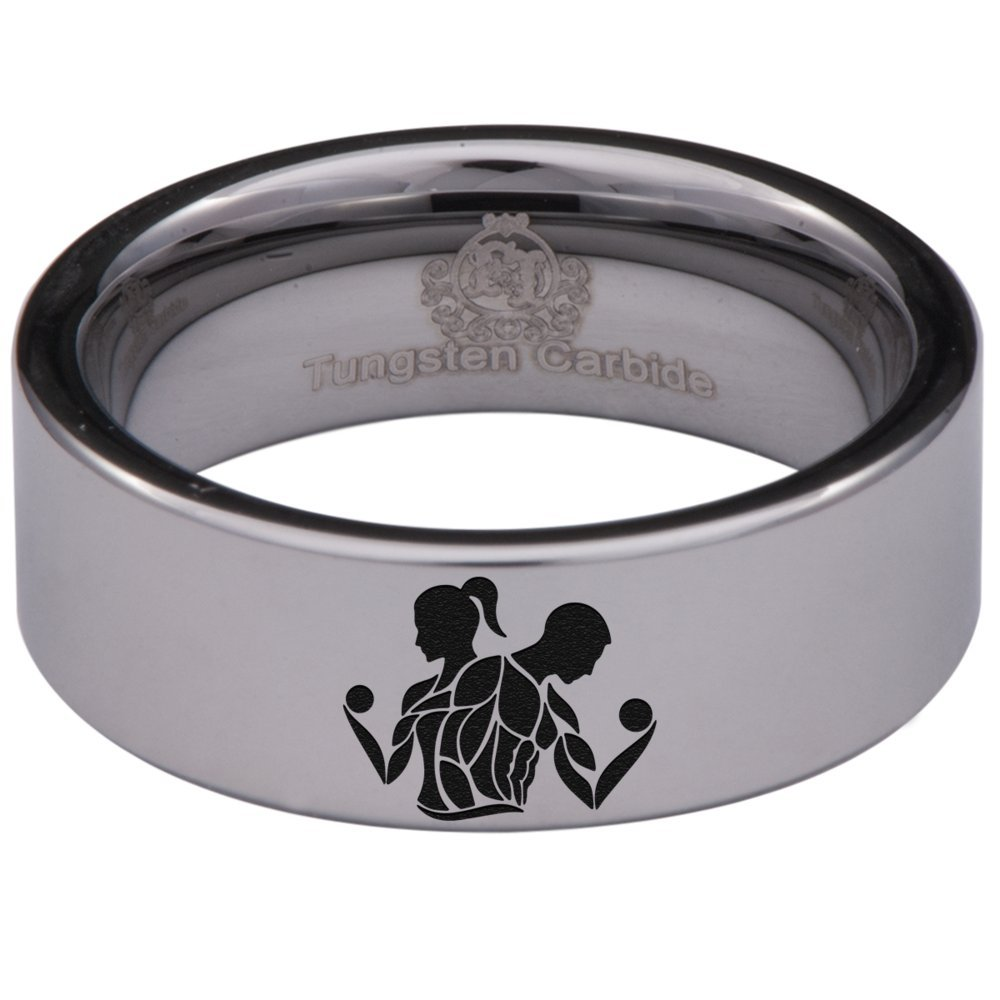 Silver Tungsten Carbide Fitness Ring 8mm Wedding Band Anniversary Ring for Men and Women Size 10.5