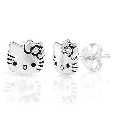 b750a385b Amazon.com: 925 Sterling Silver Tiny Hello Kitty Cat 9 mm Post Stud  Earrings: Jewelry