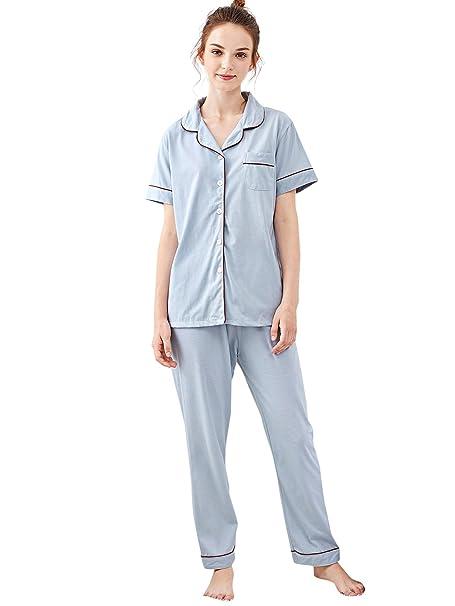 61b2c49201 SheIn Women's Contrast Button Up Short Sleeve Pajama Set at Amazon ...