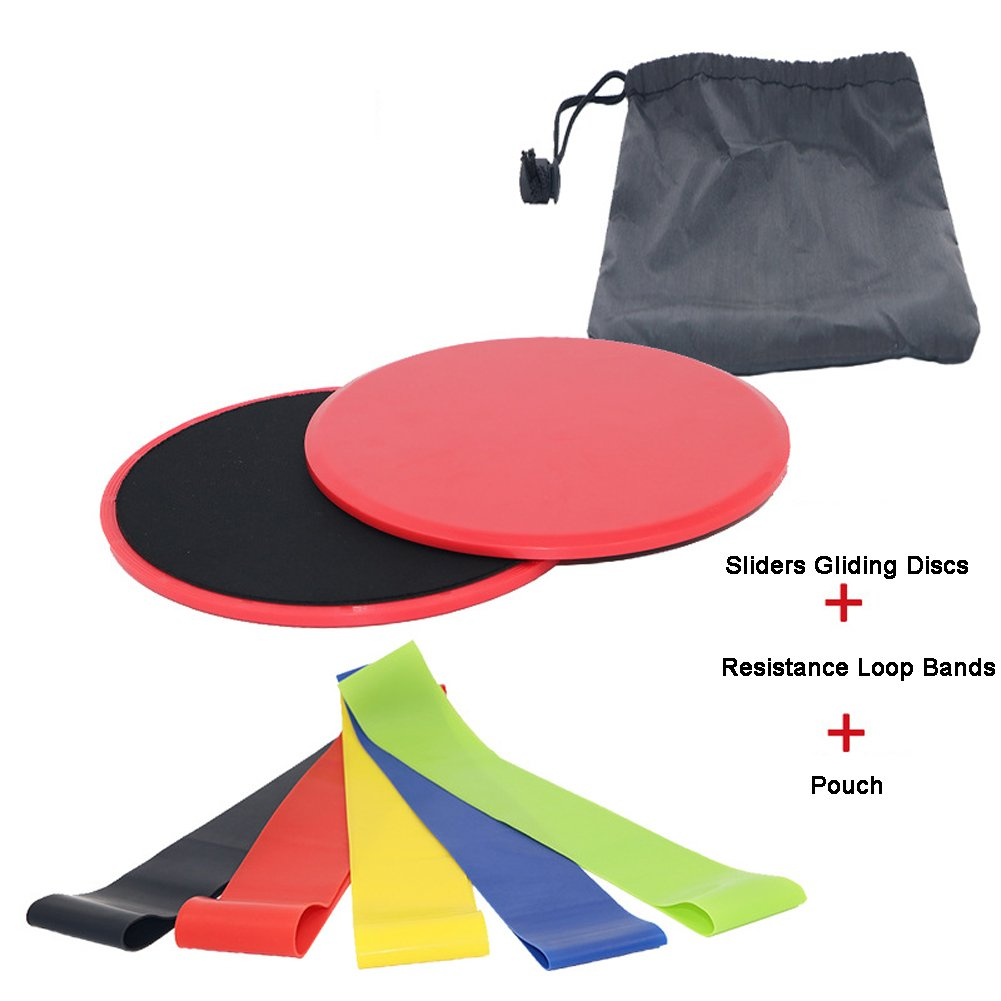Alotm Resistance Bands(Set of 5) for Stretching Physical Therapy, Gliders Exercise Discs (Set of 2) Work Smoothly on any Surface, Portable Lightweight Workout Equipment for Home