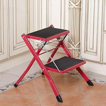 GBX Escalera de 2 Peldaños, Mini Estera Antideslizante Ligera de Seguridad para Trabajo Pesado Taburete de Cocina Plegable Portátil de Acero Caravana, Soporte de Carga 120 Kg (Color: Marrón),Rojo: Amazon.es: Bricolaje y