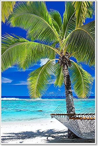 空Hammock Under Palm Tree on the beach用紙印刷壁アート 66in. x 44in. B0785V2M3T  66in. x 44in.