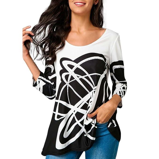 Camiseta Estampada Casual para Mujer,Blusa de Manga Tres Cuartos Casual de Moda