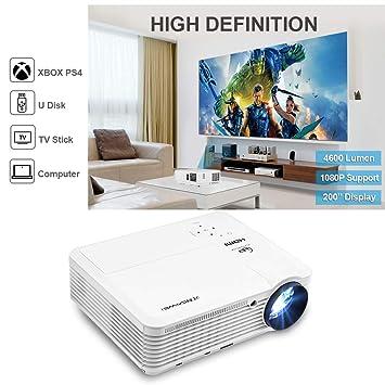 Proyector, CAIWEI Video Proyector 4500 Lúmenes Soporta Full HD 1080P Proyector LED 50000 Horas Proyector HD, Proyector Cine en casa con el Interfaz ...