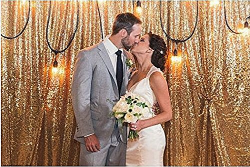 ShinyBeauty 8FTx10FT Sequin Backdrop-Gold, Prom Party Sequin Fabric Photography Backdrop by ShinyBeauty
