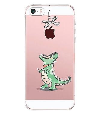 Qissy Carcasa para iPhone SE 5 5s, TPU Funda Cubierta de Ultra Delgado impresión de Silicona Carcasa Trasera para iPhone 5 5s Transparente