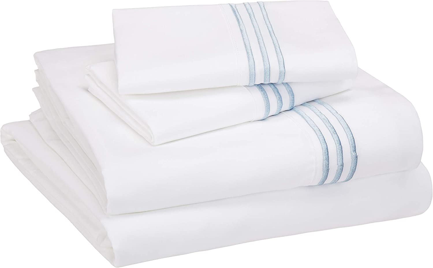 AmazonBasics Premium, Easy-Wash Embroidered Hotel Stitch 120 GSM Sheet Set - Queen, Embroidered Dusty Blue