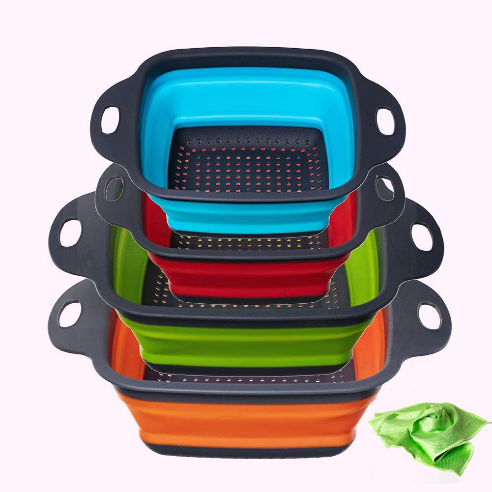 Collapsible Colanders Set of 4, Space-Saver Folding Food Strainer Perfect for Draining Pasta, Vegetables, and fruit Kitchen Durable Folding Rubber Hopper Filter Basket