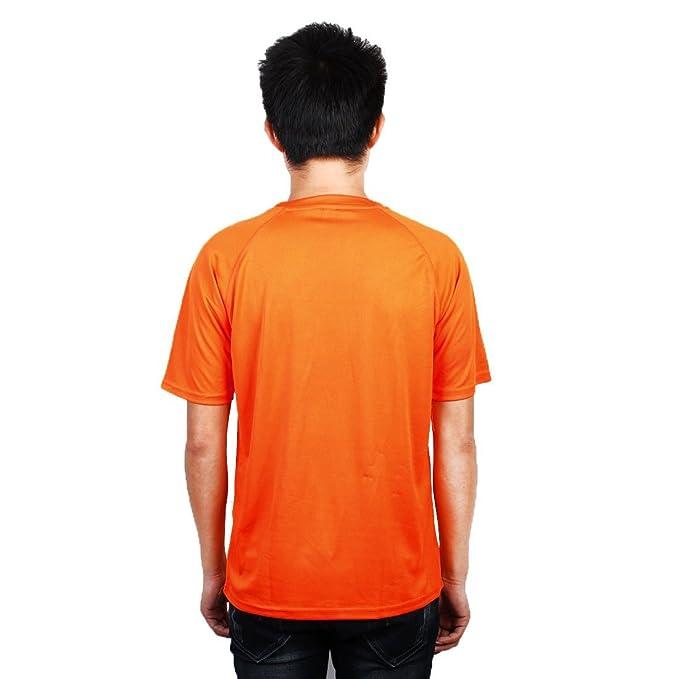 Amazon.com : eDealMax Hombres Deportes Carrera de maratón, de secado rápido de Cuello Redondo, Manga Corta T-reticular, Camiseta Naranja : Sports & Outdoors