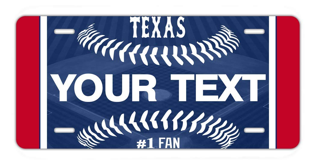 BRGiftShop Personalize Your Own Baseball Team Texas Car Vehicle 6x12 License Plate Auto Tag
