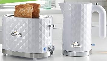 Modern Kitchen 1 5l Diamond Kettle 2 Slice Toaster Set White Free