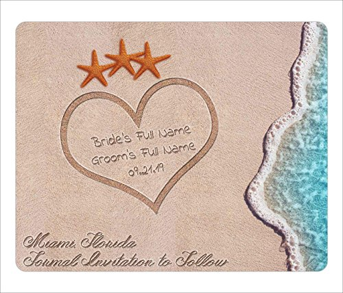 BleuReign(TM) Personalized Custom Destination Beach Wedding Starfish In Sand Save The Date Announcement Square Refrigerator Fridge Magnet Set Of 25 -