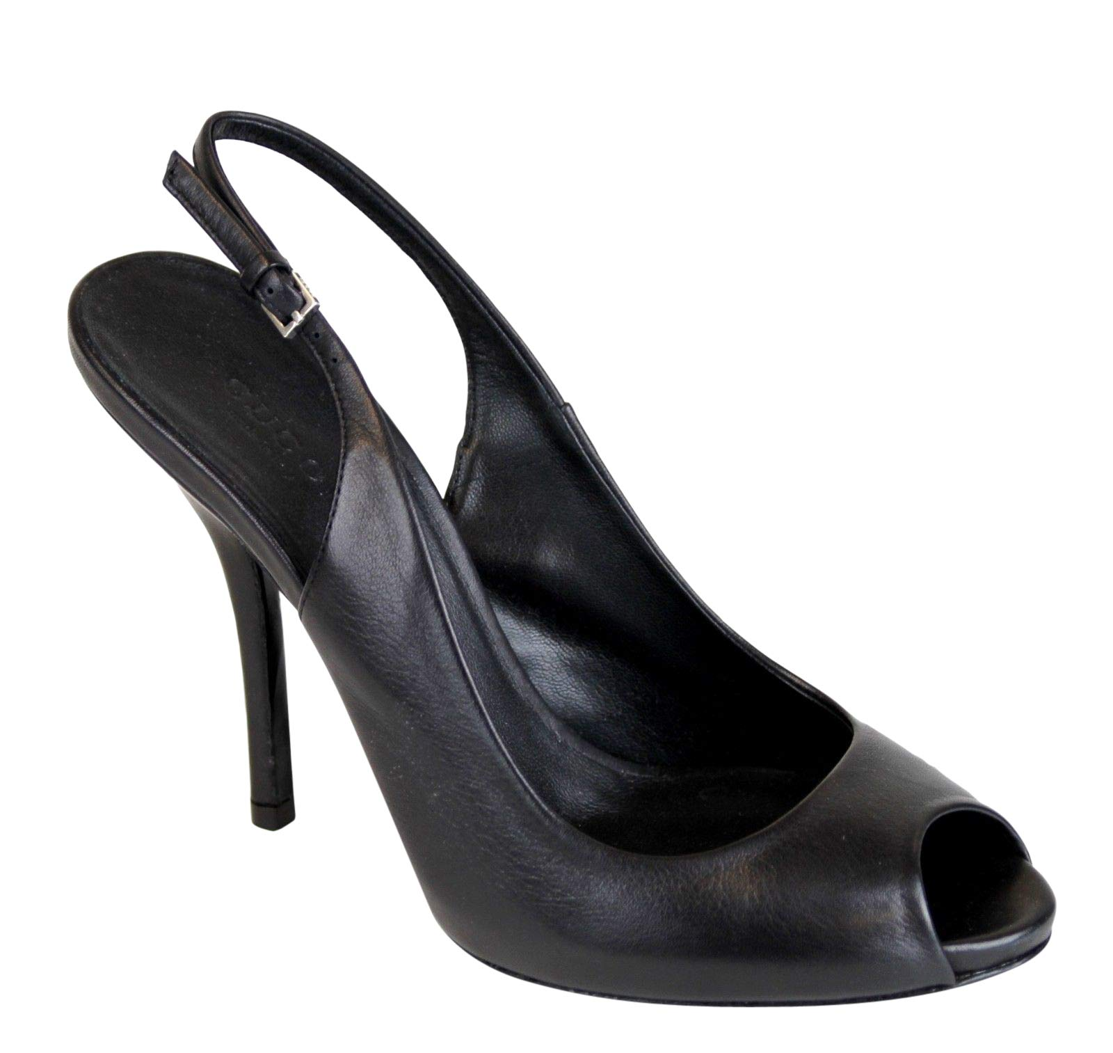 e745509d26d7b Gucci Women's Black Leather Sling-Back Heel Pump 317033 | ShoesCrave