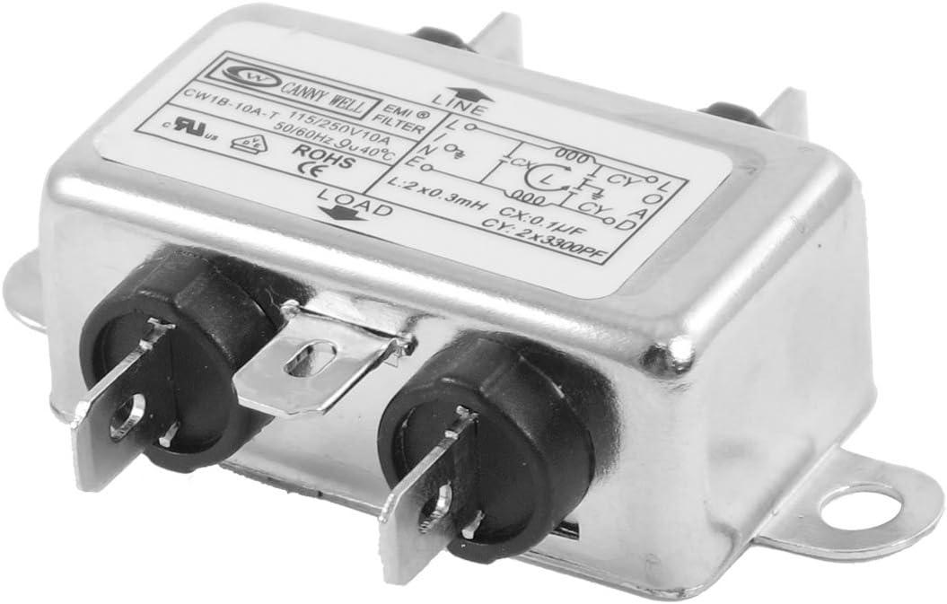 115V//250V Power Line Filter,10A 50//60Hz Single//Dual Pole Single-Phase Power Line EMI Filter Terminal,Power Wire Filter Power Filter Terminal