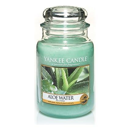 Yankee Candle Aloe Water Candele in Giara Grande, Vetro, Verde, 10.1X9.8X15.4 cm