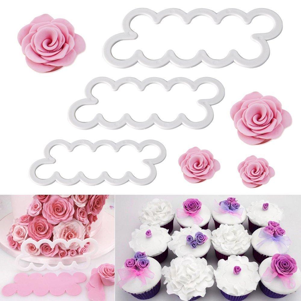 Wady 3 Tamaños Diferentes rosas Moldes DIY Fondant Moldes Decoración Cookies Fondant tarta Sugar Craft Forma Marco Afeitado bloque Herramientas Cutter Tool: ...