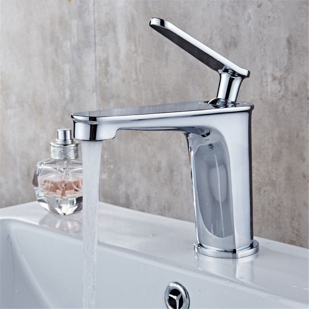 ETERNAL QUALITY Bathroom Sink Basin Tap Brass Mixer Tap Washroom Mixer Faucet Hot and cold bath basin taps home single on-the-water faucet bathroom basin mixer taps on th
