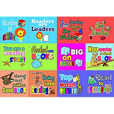 Creanoso Roarsome Reading Stickers (10-Sheet) – Total 120 pcs (10 X 12pcs) Individual Small Size 2.1 x 2. Inches , Waterproof, Unique Personalized Themes Designs, Any Flat Surface DIY Decoration Art Decal for Boys & Girls, Ch