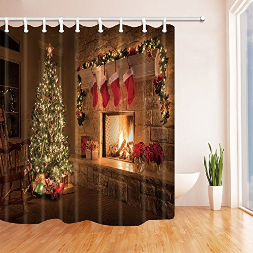 ChuaMi Polyester Fabric 70 x 82 Inches Shower Curtain Mildew Resistant Waterproof Bathroom Decoration Curtains with Hooks (Christmas Tree and Fireplace) by ChuaMi