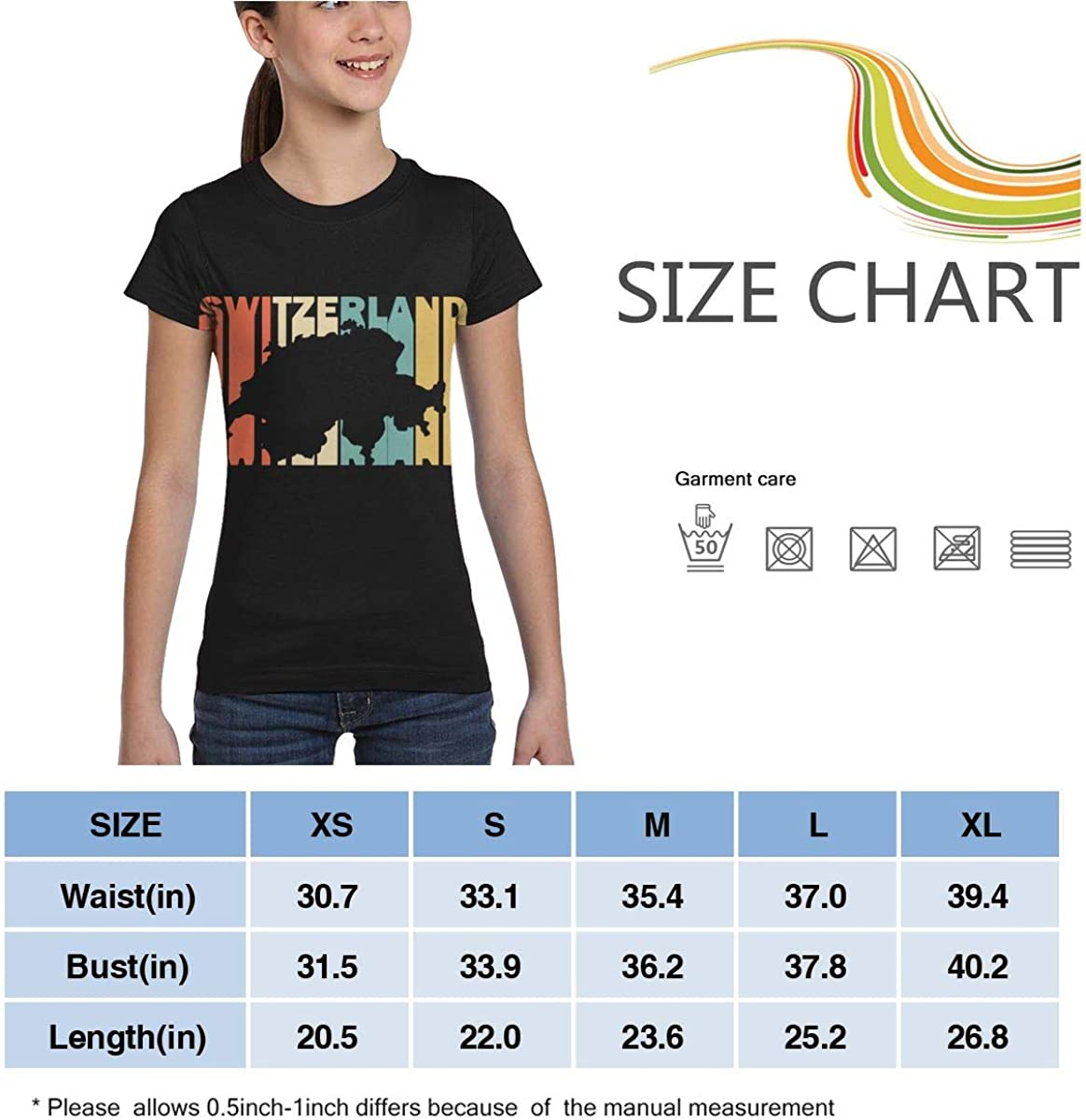 Casual Tunic Shirt Dress Girls Short Sleeve Retro Style Switzerland Silhouette T-Shirts XS-XL