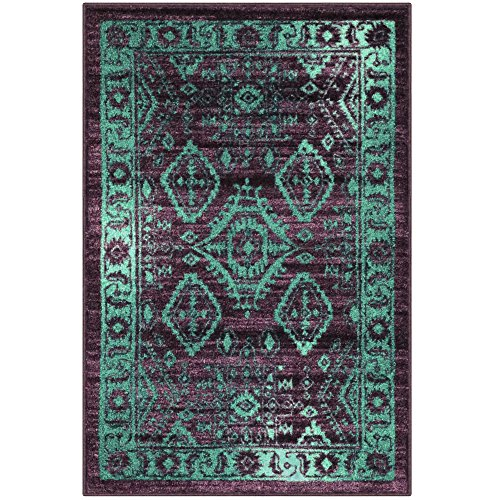 Maples Rugs Kitchen Rug - Georgina 2.5 x 4 Non Skid Small Accent Throw Rugs [Made in USA] for Entryway and Bedroom, 2'6 x 3'10, Wineberry/Teal